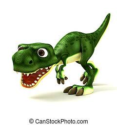 cartone animato, dinosauri, verde