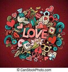 cartone animato, disegnato, illustrazione, amore, vettore, scarabocchiare, mano