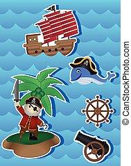 cartone animato, disegno, tuo, pirati