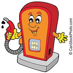 cartone animato, distributore di benzina