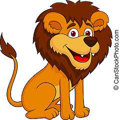 cartone animato, divertente, leone, seduta