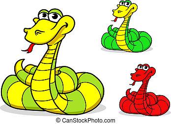 cartone animato, divertente, serpente