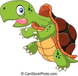 cartone animato, divertente, tartaruga, correndo