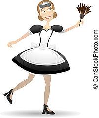 cartone animato, domestica, presa a terra, spolveratore, vettore, illustrazione
