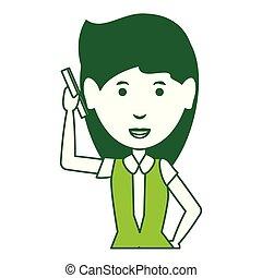 cartone animato, donna d'affari, icona
