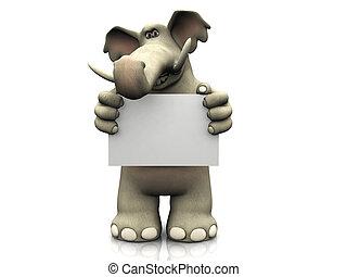 cartone animato, elefante, con, vuoto, segno.