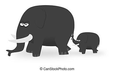 Cartone animato elefanti stilizzato cartone animato colorato