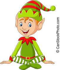 cartone animato, elfo, natale, felice, seduta