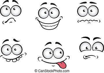 cartone animato, emozioni, facce