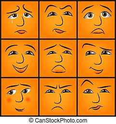 cartone animato, emozioni, set
