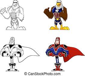 cartone animato, eroe super, caratteri