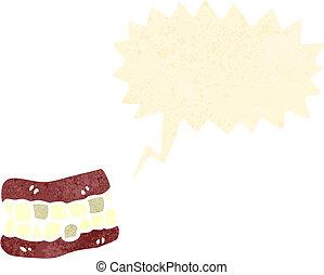 cartone animato, falso, retro, denti