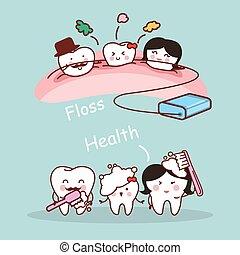 cartone animato, famiglia, dente