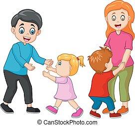 cartone animato, famiglia, felice