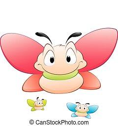 cartone animato, farfalle