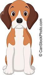cartone animato, felice, cane, seduta