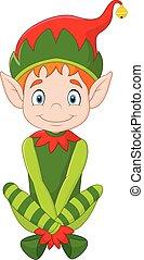 cartone animato, felice, elfo, natale, seduta