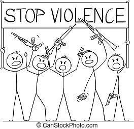 cartone animato, fermata, armato, violenza, fucili, pistole, brandire, illustrazione, persone, gruppo, presa a terra, pistole, dimostrare, o, segno, vettore, soldati