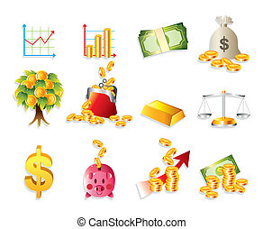 cartone animato, finanza, &, soldi, icona, set