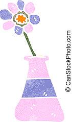 cartone animato, fiore, retro, vaso