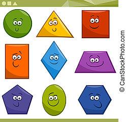 cartone animato, fondamentale, forme geometriche