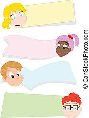 cartone animato, fondo, bambini