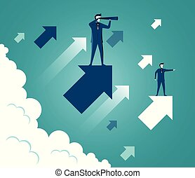 cartone animato, freccia, andare, startup., vettore, successo, sopra, uomini affari, concetto affari, cielo, opportunities., goal., presa a terra, binocolo, ricerca, su, illustrazione, standing, cloud., mentre