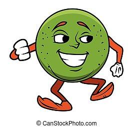 cartone animato, frutta, ballo