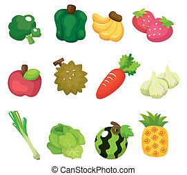 cartone animato, frutta verdure, icona, set