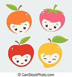 cartone animato, frutte