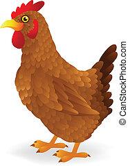 cartone animato, gallina, marrone