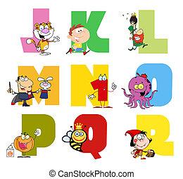 cartone animato, gioioso, collezione, alfabeto