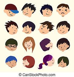 cartone animato, giovani persone, faccia, icona
