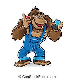 cartone animato, gorilla, con, telefoni mobili