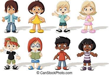 cartone animato, gruppo, felice, bambini