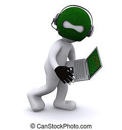 cartone animato, hacker, con, laptop