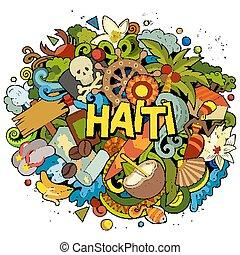 cartone animato, haiti, design., divertente, mano, disegnato...