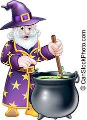 cartone animato, halloween, mago