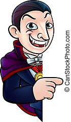cartone animato, halloween, vampiro, indicare, segno