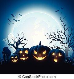 Zucche halloween cartone animato gruppo halloween