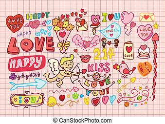 cartone animato, hand-drawn, set, romantico