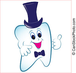 cartone animato, hat., pollice, dente