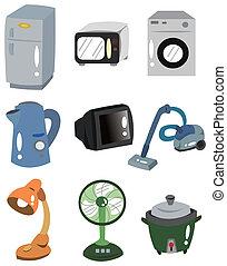cartone animato, icona, apparecchi, casa