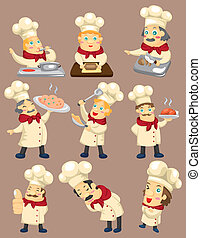 cartone animato, icona, chef