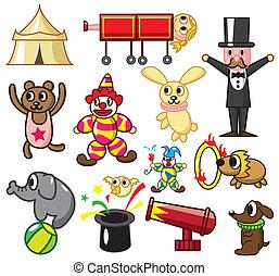 cartone animato, icona, circo