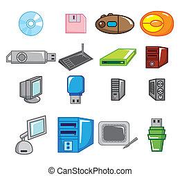 cartone animato, icona, computer