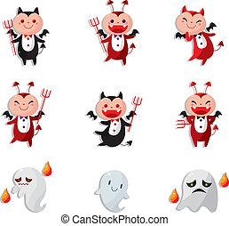 cartone animato, icona, diavolo