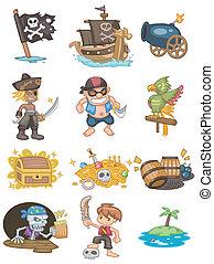 cartone animato, icona, pirata