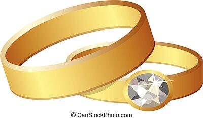 cartone animato, icona, stile, anelli, matrimonio
