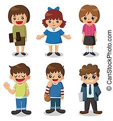 cartone animato, icona, studente